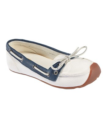 Whisper White & Ensign Blue Catalina Canvas Boat Shoe - Women