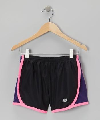 New Balance Black & Purple Track Shorts - Girls