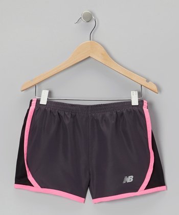Charcoal & Pink Track Shorts - Girls