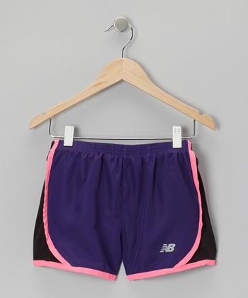 New Balance Purple & Pink Track Shorts - Girls