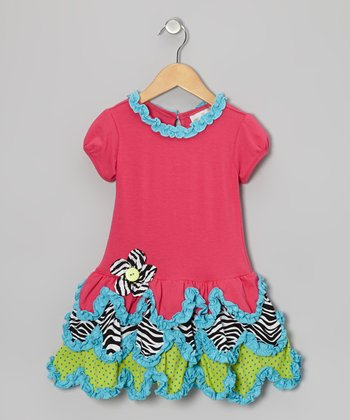 Fuchsia Zebra Drop-Waist Dress - Girls