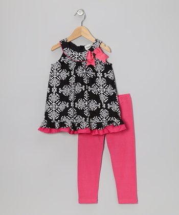 Black & Fuchsia Bow Swing Tunic & Leggings - Toddler