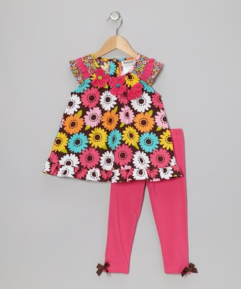 Fuchsia Floral Tunic & Leggings - Toddler