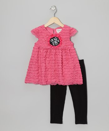 Fuchsia Eyelash Ruffle Tunic & Black Leggings - Toddler