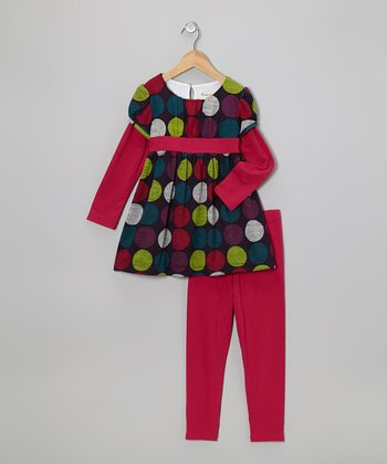 Fuchsia Polka Dot Layered Tunic & Leggings - Girls