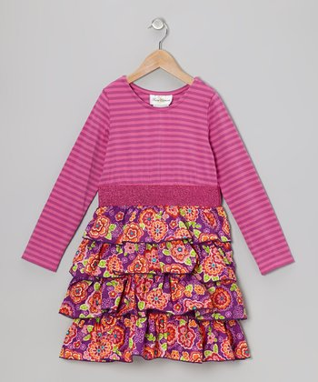 Magenta Stripe Floral Dress - Girls
