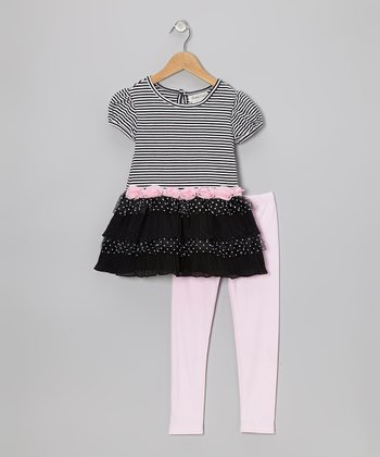 Black & Pink Stripe Tunic & Leggings - Girls