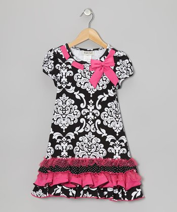 Black & Pink Damask Dress - Girls