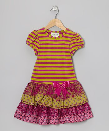 Lime & Purple Stripe Tier Ruffle Dress - Girls