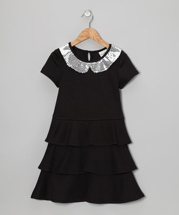Black Tier Ruffle Dress - Girls