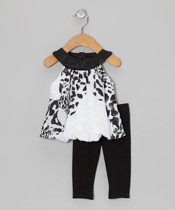 Black & White Cheetah Bubble Tunic & Leggings - Infant