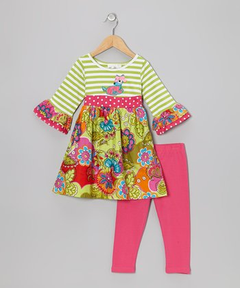 Lime & Pink Deer Tunic & Leggings - Infant