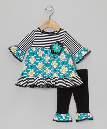 Black & Aqua Stripe Flower Tunic & Leggings - Infant