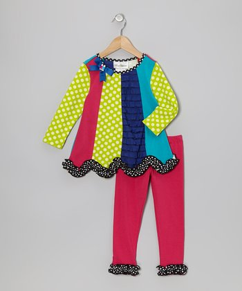 Fuchsia & Lime Panel Tunic & Leggings - Infant, Toddler & Girls