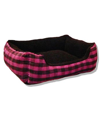 Pink & Black Buffalo Plaid Cuddler Pet Bed