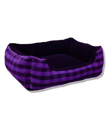 Grape & Black Buffalo Plaid Cuddler Pet Bed