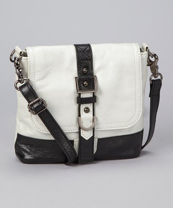 Metallic White & Black Vickie Crossbody Bag