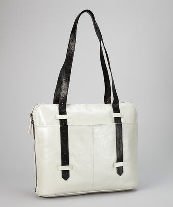 Metallic White & Black Robbie Slim Leather Satchel