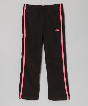 Black & Fuchsia Track Pants - Girls