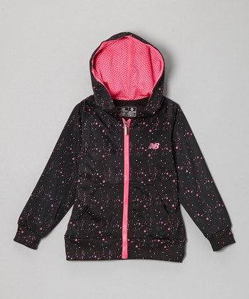 Black & Pink Dot Zip-Up Hoodie - Toddler & Girls