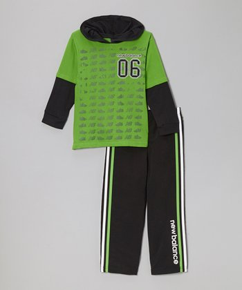 Lime & Black Hoodie & Track Pants - Boys