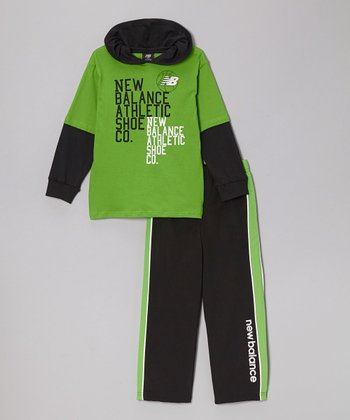Lime & Black 'Shoe Co.' Hoodie & Track Pants - Toddler & Boys