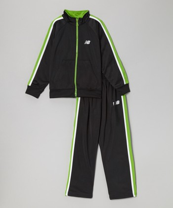 Black & Lime Track Jacket & Pants - Boys