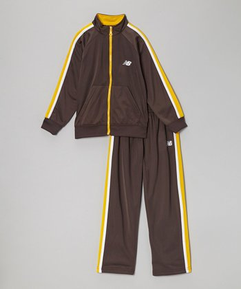 Charcoal & Gold Track Jacket & Pants - Boys