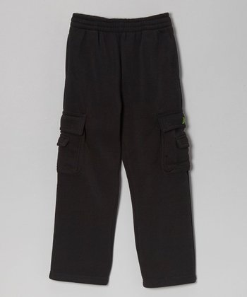 Black Cargo Warm-Up Pants - Boys