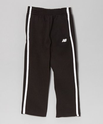 Black & White Stripe Track Pants - Boys