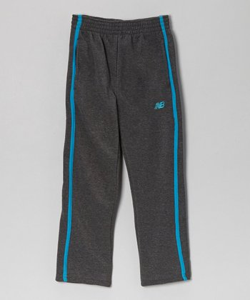 Charcoal & Turquoise Track Pants - Boys