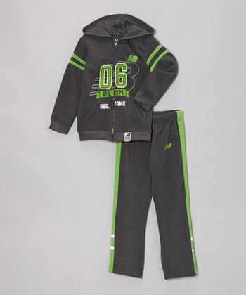 Charcoal & Lime '06' Zip-Up Hoodie & Track Pants - Boys