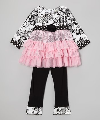 Pink & Black Ella Tunic & Ruffle Pants - Infant, Toddler & Girls