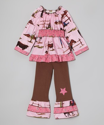 Pink Western Cowgirl Tunic & Brown Ruffle Pants - Toddler & Girls