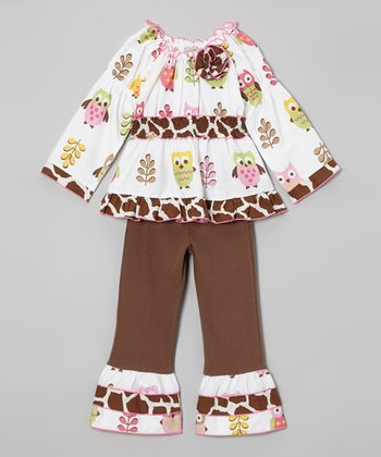 White Hoot Tunic & Brown Ruffle Pants - Girls