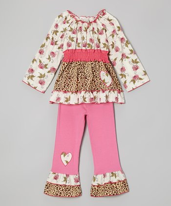 Pink Rose Leopard Tunic & Ruffle Pants - Toddler & Girls