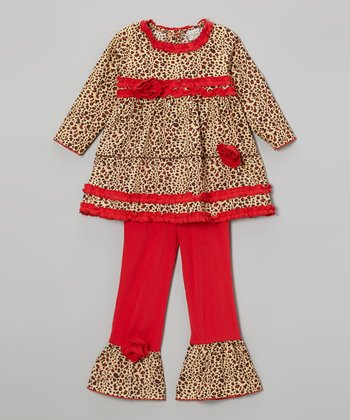 Beige & Red Leopard Tunic & Ruffle Pants - Toddler & Girls