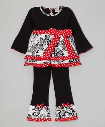 Black & Red Eden Tunic & Ruffle Pants - Toddler & Girls