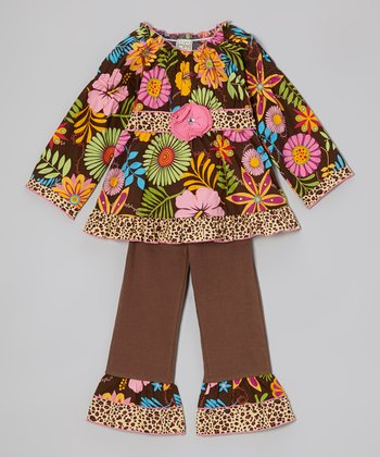 Brown Coco Floral Tunic & Ruffle Pants - Toddler & Girls