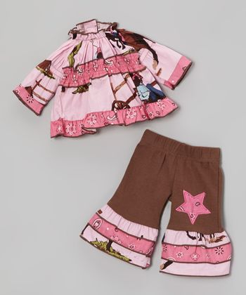 Pink & Brown Western Cowgirl Doll Outfit