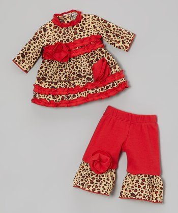 Beige & Red Holiday Leopard Doll Outfit