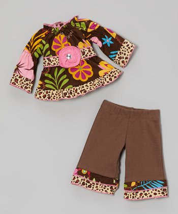 Brown Coco Floral Doll Outfit