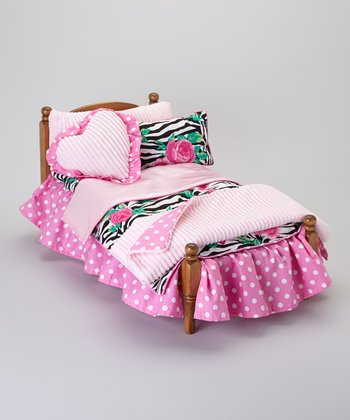 Pink Zebra Rose Doll Bedding Set