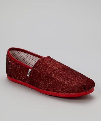 Red Glitter Slip-On Shoe