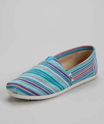 Blue Stripe Slip-On Shoe