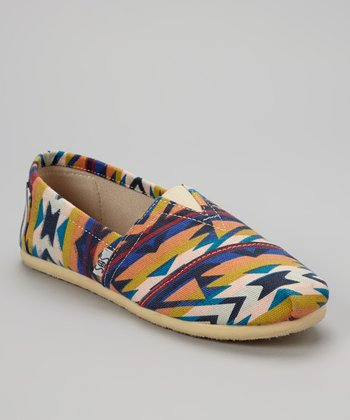 Blue Aztec Slip-On Shoe