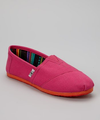 Fuchsia & Orange Solid Slip-On Shoe
