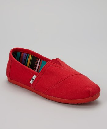 Red Solid Slip-On Shoe