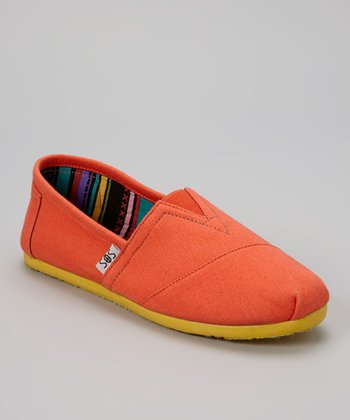 Orange & Yellow Solid Slip-On Shoe