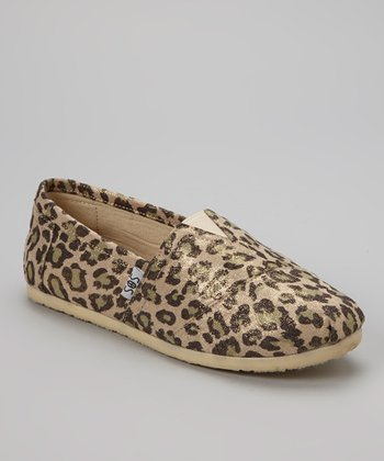 Beige Leopard Shimmer Slip-On Shoe